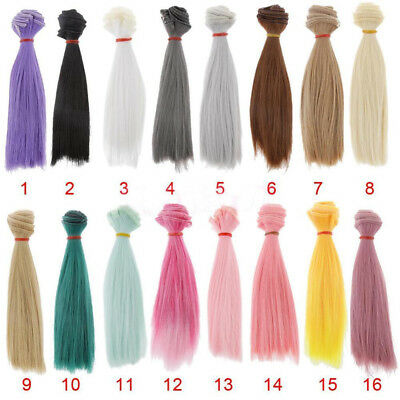 HK- 15cm DIY High-temperature Silk Straight Hair Wig for Baby BJD Dolls Reliable