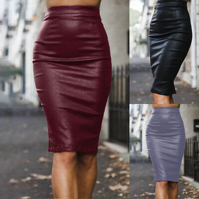 392a781577 HK- Women Solid Color Faux Leather High Waist Bodycon Back Midi Pencil Skirt  New