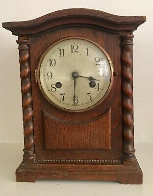 ANTIQUE 1920s GERMAN OAK MANTEL CLOCK, PENDULUM