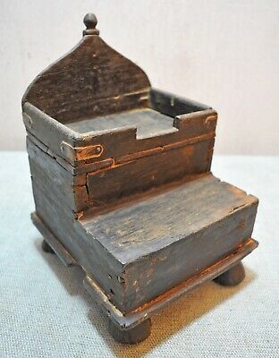Original Old Antique Hand Carved Crafted Wooden Worship Temple Pedestal