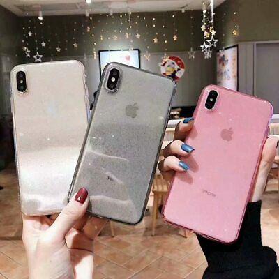 Ultra-thin Transparent Soft TPU Silicone Glitter Cover Phone Case For iPhone