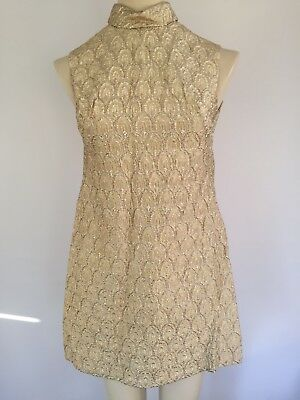 Gold Vintage Minidress 60/70's Approx Size 10 (measurements In Details)