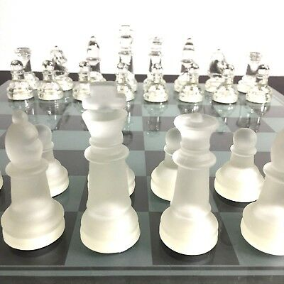 """Elegant Solid Glass Chess And Checkers Game Set - 14"""" Playing Board / 3"""" King"""