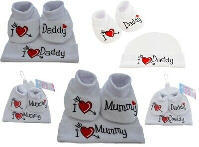 Newborn 3 Months Mum Dad Baby Hat Booties Boys Girls Bootee Gift Set Socks Shoes
