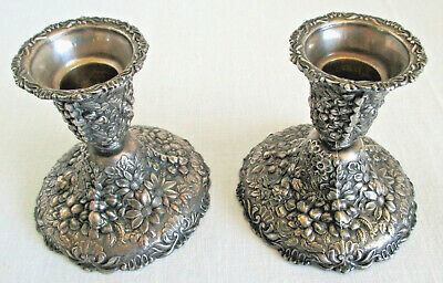 Asahi Shoten  Silver / Silverplated Candle Holders with Floral Design