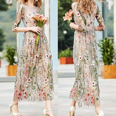 Women Girls 3/4 Sleeve Spring Summer Fairy Long Dress Pretty Embroidery Flowers