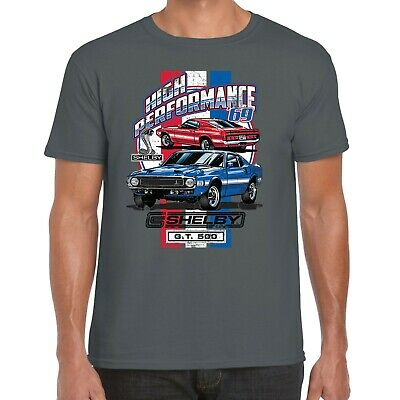 Mens Ford Mustang Shelby GT 500 T Shirt Classic American Retro Muscle Car Cobra