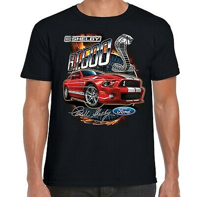 Mens Ford Mustang Carroll Shelby T Shirt GT500 American Retro Classic Muscle Car
