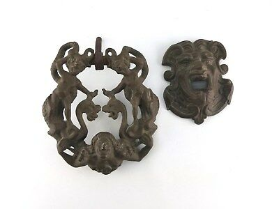 Antique Style Brass Cherub Serpent Dragon On Godly Being Shoulders Door Knocker