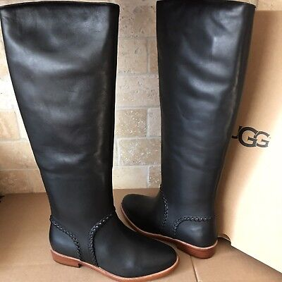c332e4ca4a5 UGG GRACEN WHIPSTITCH Black Leather Knee High Tall Riding Boots Size ...