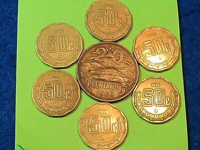 Mexican copper & brass coins (lot of 7) coins .. combine shipping save $$$