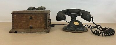 Antique Vintage Western Electric Co Telephone & Phone Ringer Box