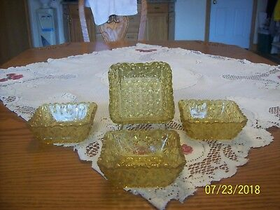 Jeanette Depression Glass Vintage Button and Bows Amber Square Nut & Mint Dishes