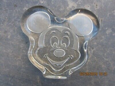 ETCHED GLASS MICKEY MOUSE HEAD FIGURINE or PAPERWEIGHT