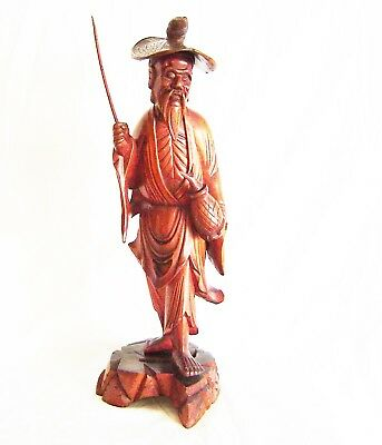 Hand Carved figure of a Chinese Fisherman Circa 1920