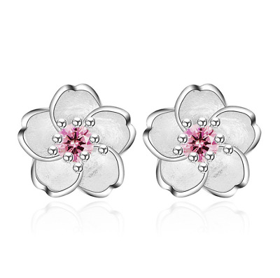 Womens Flower Earrings Sterling Silver Plated Round Stud Pink Crystal Jewellery