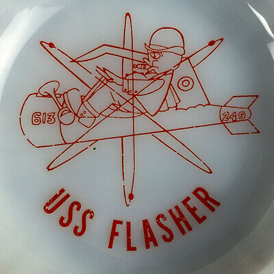 Milk Glass Ashtray USS FLASHER SSN 613 Nuclear Power Submarine Cold War Era 60s