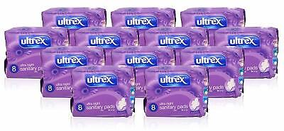 Ultrex Ultra Night Sanitary Pads, With Ultra Fit Wings,12 Packs (96 Pads)