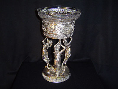 Silver plated Meridan Centerpiece With Signed Hawkes Cut Glass Bowl