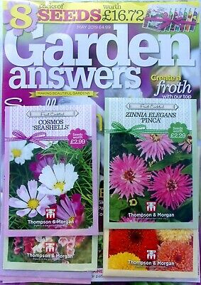 GARDEN ANSWERS MAGAZINE ISSUE MAY 2019 WITH 8 x PACKS OF SEEDS ~ NEW ~