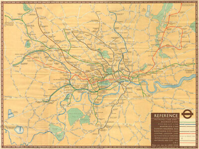 "London Transport tube. ""Underground Railway Map"" - Number 1 - 1937 old"