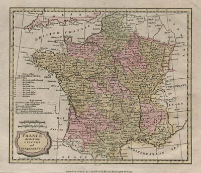 France divided into circles and departments. BARLOW 1807 old antique map chart