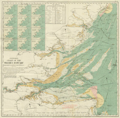 Stanford's chart of the Thames Estuary 70x70cm 1925 old vintage map plan