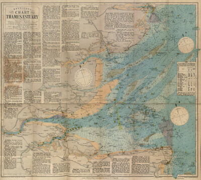 Reynolds's New Chart of the Thames Estuary. 58x62cm. STANFORD 1915 map