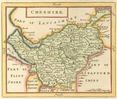 Antique county map of Cheshire by John Seller / Francis Grose 1783 old