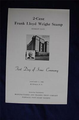 Frank Lloyd Wright 2c Stamp FD Ceremony Program Sc#1280a CP0216 Falling Water