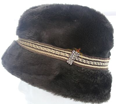 8dc261f2 Vintage Mid Century Dark Brown Mink Fur Hat Medium Pillbox Cap UHCMW Made  in USA