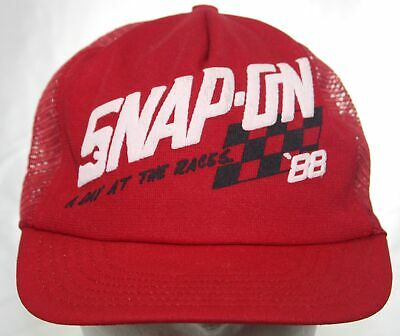 Vintage Snap-On Tools A Day At The Races '88 Trucker Hat 1988 Red Snapback Cap
