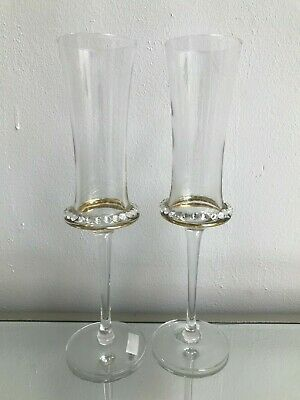 Pair Champagne Flutes Glasses Diamonte Clear 2 25cm Wedding Gift Drinking