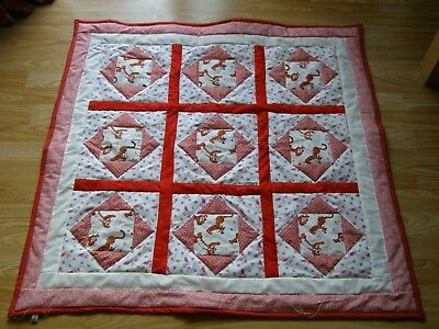 Handmade Quilted Baby Patchwork  Quilt Cot / Pram Baby Tigger And Piglet Fabric