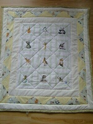 Handmade  Patchwork Quilted Baby Quilt Cot / Pram Love Is  Baby Animal Fabric 1