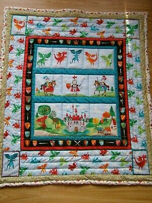 Handmade Quilted Patchwork Baby  Cot / Pram Quilt Dragons And Knights A