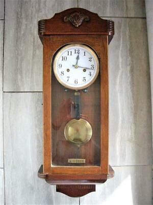 ANTIQUE MAHOGANY 8-DAY WALL CLOCK - restored