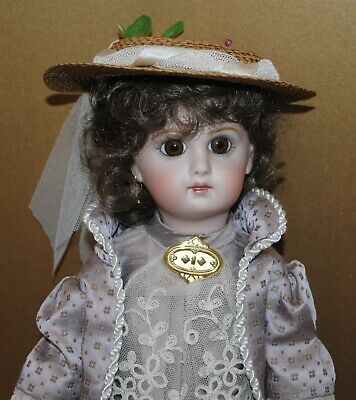 """Antique French Jumeau Doll 14.5"""" Reprodcution Artist Made Beautiful"""