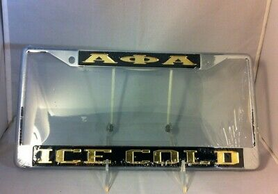 "Alpha Phi Alpha Fraternity ""Ice Cold"" License Plate Frame- Black/Gold- New!"