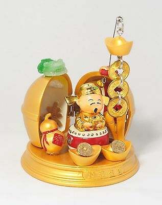 Chinese Caishen God of Wealth Fortune Luck with Feng Shui Frog Coins Ingot Gourd