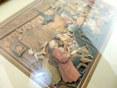 Other Antique Decorative Arts Antiques Kind-Hearted Vintage Anton Pieck 3d Framed Shadow Box Knitting Paper Art Signed