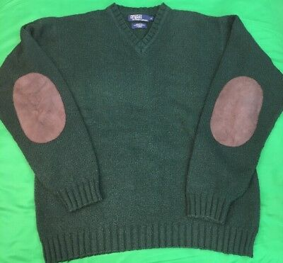 Wool Sweater Patch Mens Vtg Blend Camo Polo Ralph Leather Lauren CxeQdorBW