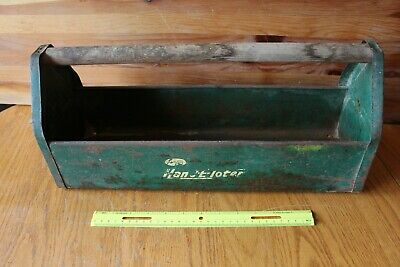 Amsco Hobby Toter Tool Caddy box Vintage green tin metal craft garden tote chest