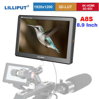"Lilliput A8s Camera Monitor 8.9"" LCD 4K 8bit 3G-SDI 3D HDMI 1920x1200 for Camera"