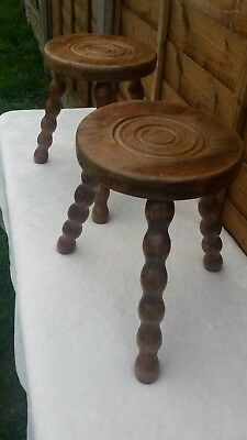 Small vintage French rustic wooden stool
