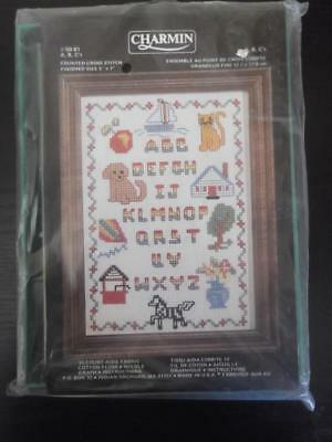 "Charmin Counted Cross Stitch Kit ""ABC's"" Sampler NIP Cat Dog Boat w/Frame 5""x7"""