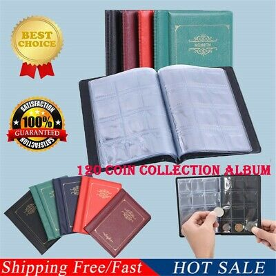 120 Coins Collection Holders Storage Money Penny Pocket Album Book Folder Wallet