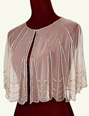 Victorian Trading Co. Pink Champagne Sheer Evening Cape With Sequins Beads