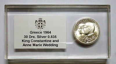 Greece 30 Drachmai 1964 Silver Coin - Constantine and Anne - Marie Wedding !