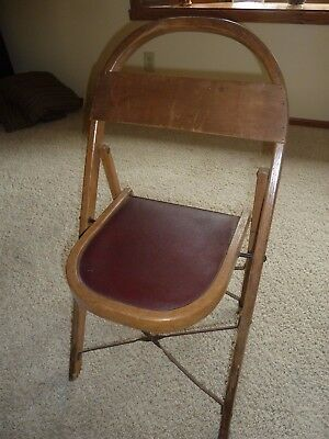 Vintage/Antique Solid Wood Folding Bentwood Style Chair w/ Padded Seat